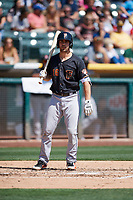 Jamie Ritchie (16) of the Fresno Grizzlies bats against the Salt Lake Bees at Smith's Ballpark on September 3, 2018 in Salt Lake City, Utah. The Grizzlies defeated the Bees 7-6. (Stephen Smith/Four Seam Images)