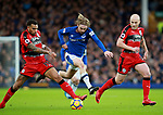 Tom Davies of Everton tackles Daniel Williams of Huddersfield Town during the premier league match at the Goodison Park Stadium, Liverpool. Picture date 2nd December 2017. Picture credit should read: Simon Bellis/Sportimage