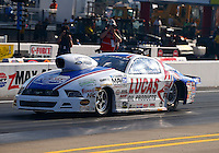 Sep 13, 2013; Charlotte, NC, USA; NHRA pro stock driver Larry Morgan during qualifying for the Carolina Nationals at zMax Dragway. Mandatory Credit: Mark J. Rebilas-