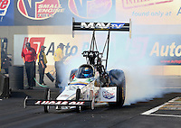 Oct 4, 2013; Mohnton, PA, USA; NHRA top fuel dragster driver Brandon Bernstein during qualifying for the Auto Plus Nationals at Maple Grove Raceway. Mandatory Credit: Mark J. Rebilas-