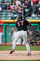 Rocky Gale (17) of the El Paso Chihuahuas at bat against the Salt Lake Bees in Pacific Coast League action at Smith's Ballpark on May 1, 2017 in Salt Lake City, Utah. Salt Lake defeated El Paso 9-4.  (Stephen Smith/Four Seam Images)
