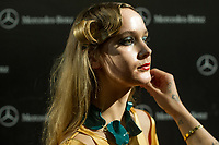 Model poses<br /> Isabel Nunez's show during the MBFW Madrid (Mercedes Benz Fashion Week Madrid) Autumn/Winter at IFEMA in Madrid on January 28, 2018.