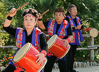Okinawan dancers perform during the grand re-opening of the Jingu House, Sunday, Oct. 22, 2011, at the Japanese Tea Garden in San Antonio, Texas, USA. (Darren Abate/pressphotointl.com)