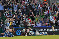 London, England. Maurie Faasavalu of Harlequins scores a try to the delight of the supporters during the Aviva Premiership match between Harlequins and Bath Rugby at Twickenham Stoop on March 24, 2012 in Twickenham, England.
