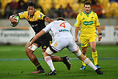 9th June 2017, Westpac Stadium, Wellington, New Zealand; Super Rugby; Hurricanes versus Chiefs;  Hurricanes' Sam Lousi (L) is tackled by Chiefs' Dominic Bird
