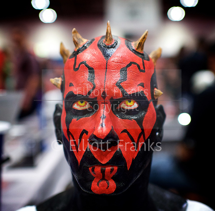 MCM Comic Con<br /> at ExCel London, Great Britain <br /> 28th May 2017 <br /> Darth Maul star wars character <br /> General atmosphere / people / faces <br /> <br /> Photograph by Elliott Franks <br /> Image licensed to Elliott Franks Photography Services