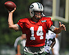 Ryan Fitzpatrick #14, New York Jets quarterback, throws a pass during training camp at Atlantic Health Jets Training Center in Florham Park, NJ on Saturday, Aug. 13, 2016.