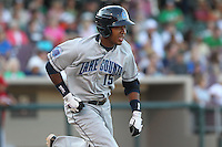 Lake County Captains first baseman Leonardo Castillo #15 runs during a game against the Dayton Dragons at Fifth Third Field on June 25, 2012 in Dayton, Ohio. Lake County defeated Dayton 8-3. (Brace Hemmelgarn/Four Seam Images)