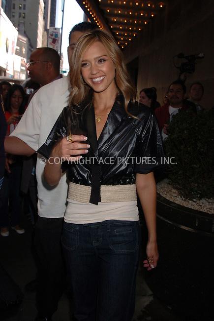 WWW.ACEPIXS.COM . . .  ....September 18 2007, New York City....Actress Jessica Alba leaves the Times Square Studio following a taping of MTV's TRL show.......Please byline:AJ SOKALNER - ACEPIXS.COM.. *** ***  ..Ace Pictures, Inc:  ..Tel: 646 769 0430..e-mail: info@acepixs.com..web: http://www.acepixs.com