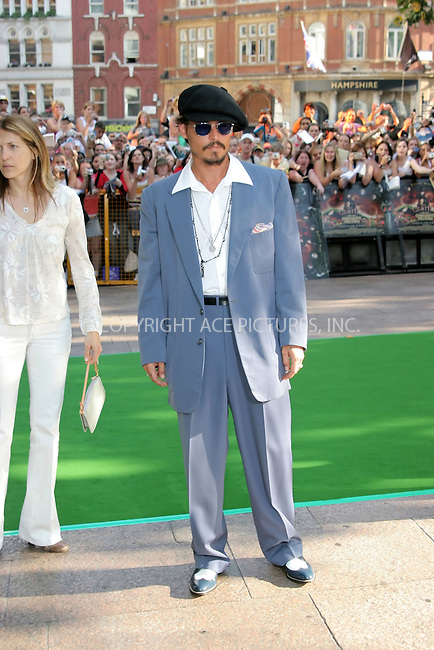 WWW.ACEPIXS.COM . . . . .  ... . . . . US SALES ONLY . . . . .....LONDON, JULY 17, 2005....Johnny Depp at the UK premiere of Charlie And The Chocolate Factory, Odeon Leicester Square.....Please byline: FAMOUS-ACE PICTURES-M. GILLIAM... . . . .  ....Ace Pictures, Inc:  ..Craig Ashby (212) 243-8787..e-mail: picturedesk@acepixs.com..web: http://www.acepixs.com