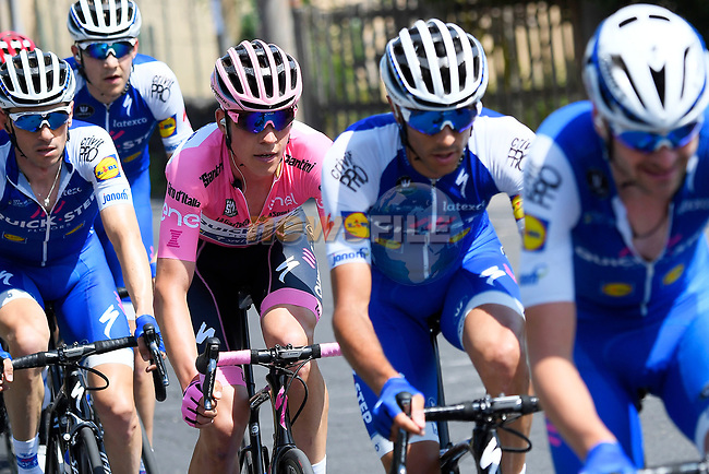 The peloton with Quick-Step Floors and Maglia Rosa Bob Jungels (LUX) in action during Stage 5 of the 100th edition of the Giro d'Italia 2017, running 159km from Pedara to Messina, Sicily, Italy. 10th May 2017.<br /> Picture: LaPresse/Fabio Ferrari | Cyclefile<br /> <br /> <br /> All photos usage must carry mandatory copyright credit (&copy; Cyclefile | LaPresse/Fabio Ferrari)