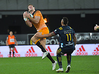 Emiliano Boffelli takes a high ball during the Super Rugby match between the Highlanders and Jaguares at Forsyth Barr Stadium in Dunedin, New Zealand on Saturday, 11 May 2019. Photo: Dave Lintott / lintottphoto.co.nz