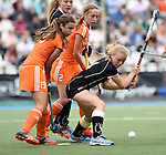 GER - Mannheim, Germany, May 25: During the U16 Girls match between The Netherlands (orange) and Germany (black) during the international witsun tournament on May 25, 2015 at Mannheimer HC in Mannheim, Germany. Final score 1-1 (1-0). (Photo by Dirk Markgraf / www.265-images.com) *** Local caption *** Julie can Dam #19 of The Netherlands, Miloe Jaeger #2 of The Netherlands, Emma Davidsmeyer #4 of Germany