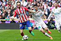 Real Madrid's Marco Asensio (r) and Atletico de Madrid's Juanfran Torres during La Liga match. April 8,2018. (ALTERPHOTOS/Acero) /NortePhoto NORTEPHOTOMEXICO