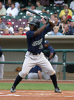 August 30, 2003:  Anthony Gwynn of the Beloit Snappers, Class-A affiliate of the Milwaukee Brewers, during a Midwest League game at Fifth Third Field in Dayton, OH.  Photo by:  Mike Janes/Four Seam Images