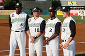 August 17 2008:  Todd Johnson (6), Larry Cobb (18), Jemile Weeks (3), and Adam Klein (12) of the Kane County Cougars, Class-A affiliate of the Oakland Athletics, during a game at Philip B. Elfstrom Stadium in Geneva, IL.  Photo by:  Mike Janes/Four Seam Images