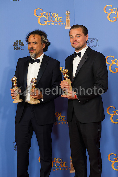 "After winning the category of BEST DIRECTOR – MOTION PICTURE and BEST MOTION PICTURE - DRAMA for ""The Revenant,"" director Alejandro Iñárritu poses backstage with Leonardo DiCaprio, Golden Globe winner for BEST PERFORMANCE BY AN ACTOR IN A MOTION PICTURE – DRAMA for his work in ""The Revenant"", in the press room with his Golden Globe Award at the 73rd Annual Golden Globe Awards at the Beverly Hilton in Beverly Hills, CA on Sunday, January 10, 2016. Photo Credit: HFPA/AdMedia"