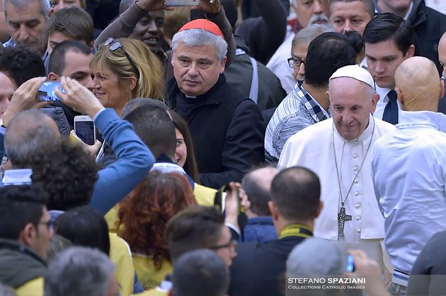 Pope Francis  Cardinal Konrad Krajewski  has a lunch with destitute people, on November 18, 2018, at the Paul VI audience hall in Vatican, to mark the World Day of the Poor.