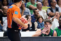 Unicaja Malaga's player Carlos Suarez talking with the referee during match of Liga Endesa at Barclaycard Center in Madrid. September 30, Spain. 2016. (ALTERPHOTOS/BorjaB.Hojas) /NORTEPHOTO.COM