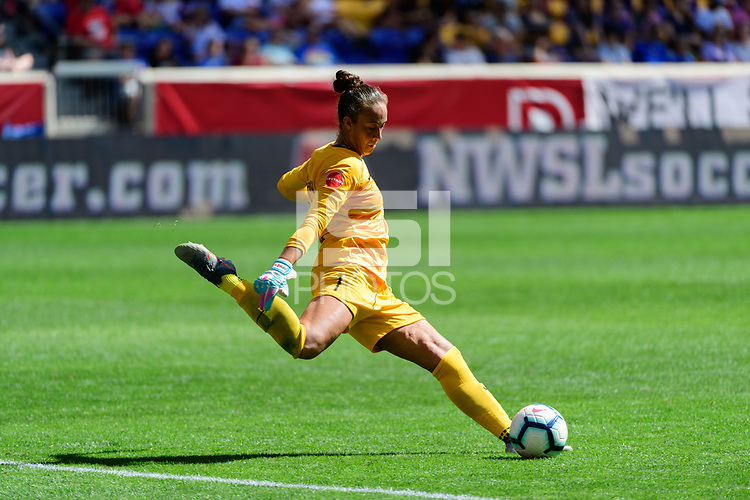 HARRISON, NJ - SEPTEMBER 29: Kailen Sheridan #1 of Sky Blue FC during a game between Orlando Pride and Sky Blue FC at Red Bull Arena on September 29, 2019 in Harrison, New Jersey.