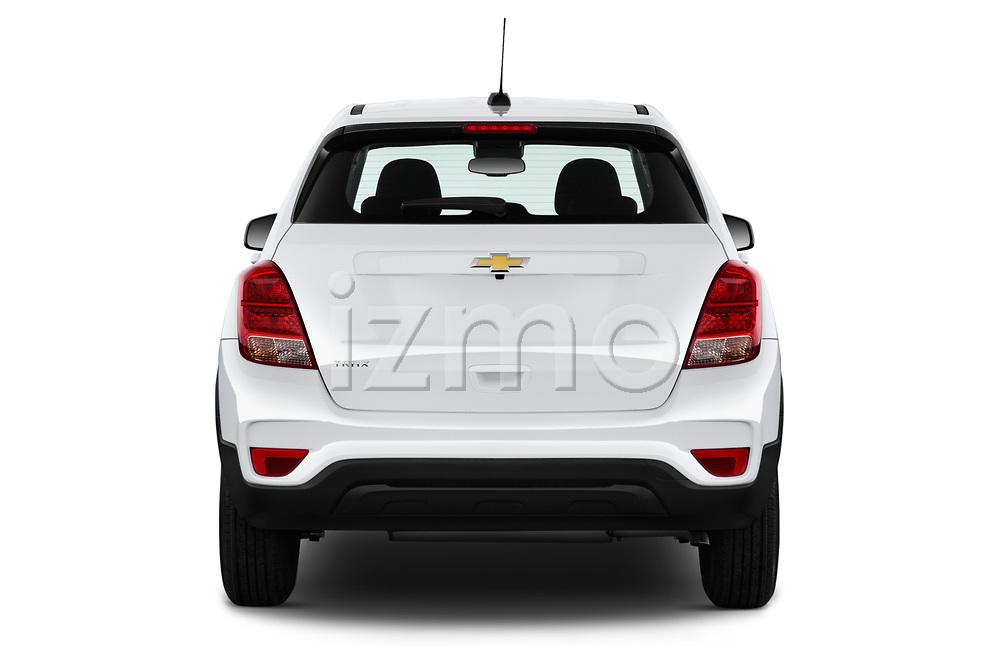 Straight rear view of a 2020 Chevrolet Trax LS 5 Door SUV stock images