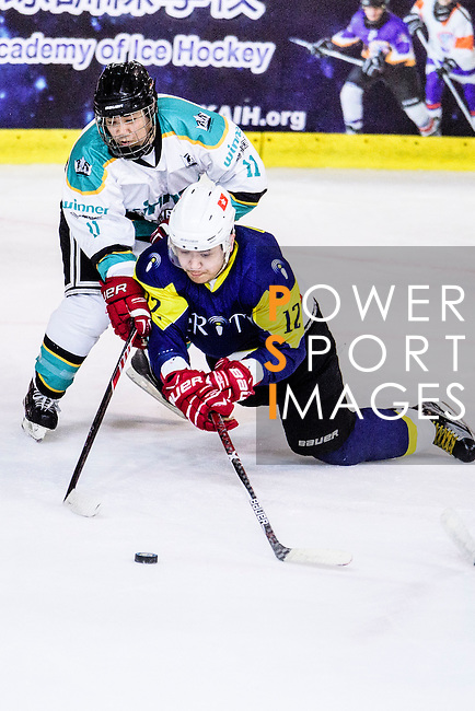 Verity Skater #12 Leo Kan (r) battle for the puck with Medical Kings Forward #11 Danny Chiu (l) during the Principal Standard League match between Medical Winner Kings vs Verity at the Mega Ice on 17 January 2017 in Hong Kong, China. Photo by Marcio Rodrigo Machado / Power Sport Images