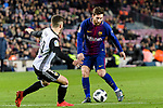 Lionel Messi of FC Barcelona (R) dribbles Jose Luis Gaya of Valencia CF (L) during the Copa Del Rey 2017-18 match between FC Barcelona and Valencia CF at Camp Nou Stadium on 01 February 2018 in Barcelona, Spain. Photo by Vicens Gimenez / Power Sport Images