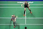 Kamilla Rytter Juhl and Christinna Pedersen of Denmark competes against Bao Yixin and Yu Xiaohan of China during their Women's Doubles Semi-Final of YONEX-SUNRISE Hong Kong Open Badminton Championships 2016 at the Hong Kong Coliseum on 26 November 2016 in Hong Kong, China. Photo by Marcio Rodrigo Machado / Power Sport Images
