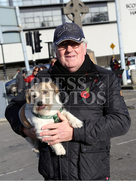 Sean Norris with Scrappy the Dog at the annual Drogheda Remembrance Day Ceremony at Mary Street.<br /> <br /> <br /> photo - Jenny Matthews