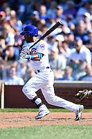 Chicago Cubs outfielder Arismendy Alcantara (7) at bat during a game against the Milwaukee Brewers on August 14, 2014 at Wrigley Field in Chicago, Illinois.  Milwaukee defeated Chicago 6-2.  (Mike Janes/Four Seam Images)