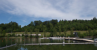 Lucerne, SWITZERLAND<br /> <br /> Genaeral View across the start at the 2016 European Olympic Qualifying Regatta, Lake Rotsee.<br /> <br /> Sunday  22/05/2016<br /> <br /> [Mandatory Credit; Peter SPURRIER/Intersport-images]