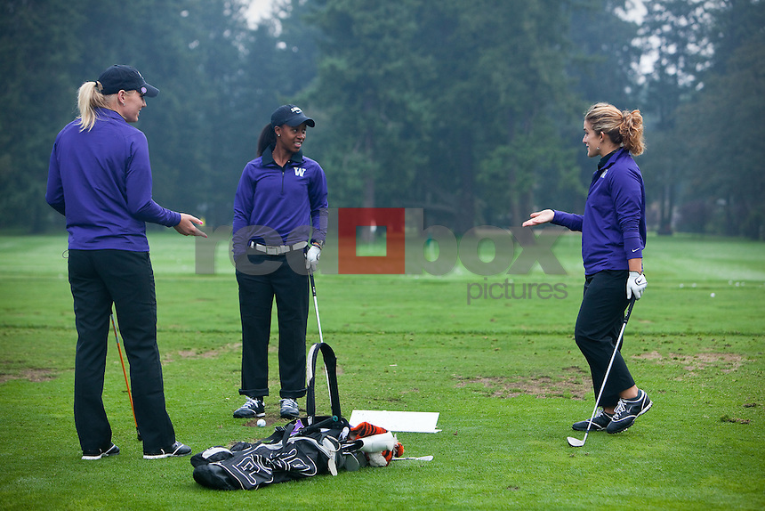 UW Golfers Karinn Dickinson, Sadena Parks and Anya Alvarez. Edean Ihlanfeldt Invitational golf tournament at the Tacoma Country and Golf Club. (Photo by Rob Sumner/ Red Box Pictures)
