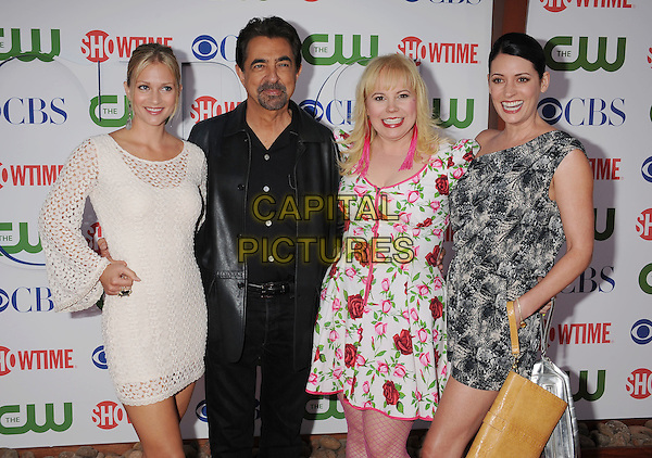 AJ Cook, Joe Mantegna, Kirsten Nangsness, Paget Brewster.arriving at the TCA Party for CBS, The CW and Showtime held at The Pagoda in Beverly Hills, California, USA,.August 3rd, 2011. .half length white crochet dress lace black shirt leather red rose print floral  grey gray .CAP/ROT/TM.©TM/Roth Stock/Capital Pictures