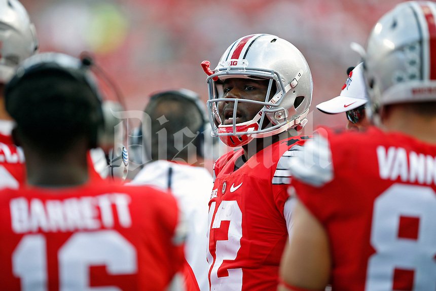Ohio State Buckeyes quarterback Cardale Jones (12) against Hawaii Warriors in their game at Ohio Stadium on September 12, 2015.  (Dispatch photo by Kyle Robertson)