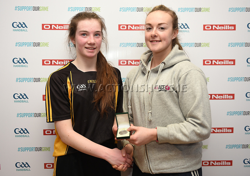 19/03/2018; 40x20 All Ireland Juvenile Championships Finals 2018; Kingscourt, Co Cavan;<br /> Girls Under-16 Singles; Kilkenny (Rois&iacute;n O&rsquo;Keefe) v Tyrone (Mairead Fox)<br /> Runner-up Rois&iacute;n O&rsquo;Keefe with Martina McMahon<br /> Photo Credit: actionshots.ie/Tommy Grealy