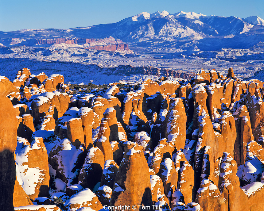 Winter Sunset at Fiery Furnace and La Sal Mountains, Arches National Park, Utah