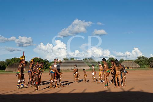 Xingu Indigenous Park, Mato Grosso State, Brazil. Aldeia Kuikuro - central village. Festival of Beija Flor.