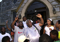 """Protesters chant """"Let Us In!"""", after hundreds turned out at a protest of the July 12 beating of Thomas Jones by city police officers attempting to arrest the carjacking suspect, when they were denied access, because of lack of space in the church Sunday, July 23, 2000, in Philadelphia. The beating incident was videotaped by a local television station helicopter, and broadcast around the world, shedding a bad light on the city of Philadelphia two weeks before the Republican National Convention. MANDATORY CREDIT: (Photo by William Thomas Cain/Photojournalist.cc)"""