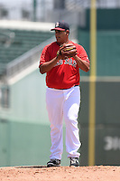 GCL Red Sox pitcher Dedgar Jimenez (57) gets ready to deliver a pitch during a game against the GCL Rays on June 25, 2014 at JetBlue Park at Fenway South in Fort Myers, Florida.  GCL Red Sox defeated the GCL Rays 7-0.  (Mike Janes/Four Seam Images)
