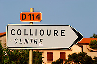 D114 towards Collioure centre. Collioure. Roussillon. France. Europe.