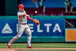 23 August 2018: Philadelphia Phillies infielder Cesar Hernandez in action against the Washington Nationals at Nationals Park in Washington, DC. The Phillies shut out the Nationals 2-0 to take the 3rd game of their 3-game mid-week divisional series. Mandatory Credit: Ed Wolfstein Photo *** RAW (NEF) Image File Available ***