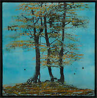 Trees in turquoise sky encaustic painting/photo transfer by Jeff League.