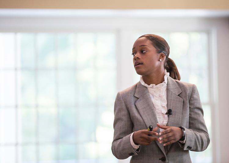 Brittany Tyree, the Senior Assistant Director of Career Management, speaks during the College of Business How to Meet the Firms interactive student workshop on Sept. 6, 2016. Photo by Emily Matthews