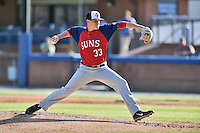 Hagerstown Suns starting pitcher Matthew DeRosier (33) delivers a pitch during a game against the Asheville Tourists at McCormick Field on April 28, 2016 in Asheville, North Carolina. The Tourists were leading the Suns 6-5 when the game was delayed in the top of the 6th inning due to darkness. (Tony Farlow/Four Seam Images)