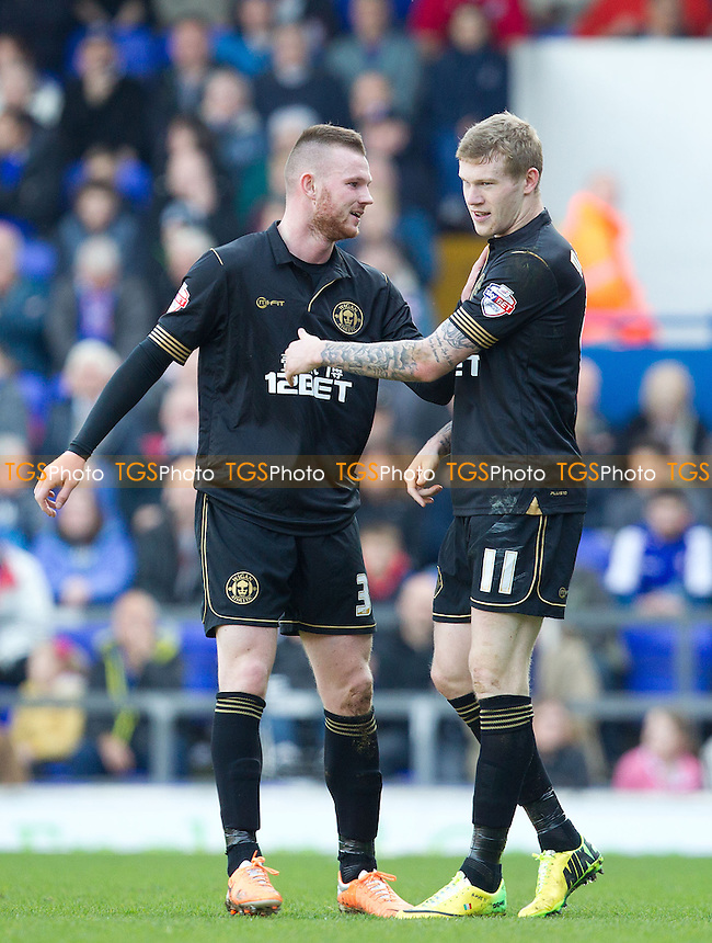 James McClean of Wigan Athletic is congratulated by Ryan Tunnicliffe following his rapid equalising goal - Ipswich Town v Wigan Athletic - Sky Bet Championship League Football at the Portman Road, Ipswich, Suffolk - 15/03/14 - MANDATORY CREDIT: Ray Lawrence/TGSPHOTO - Self billing applies where appropriate - 0845 094 6026 - contact@tgsphoto.co.uk - NO UNPAID USE