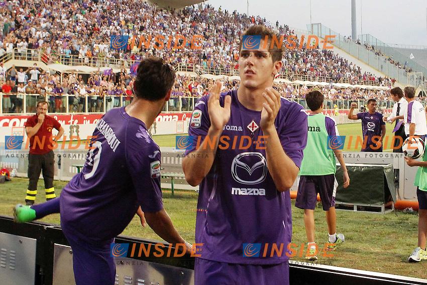 """Esultanza di Sefan Jovetic Fiorentina..Goal Celebration..Firenze 25/08/2012 Stadio """"Franchi""""..Football Calcio Serie A 2012/13..Fiorentina v Udinese..Foto Insidefoto Paolo Nucci.."""