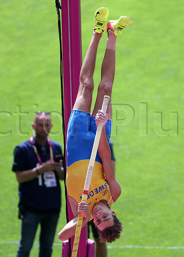 August 6th 2017, London Stadium, East London, England; IAAF World Championships, Day 3; Armand Duplantis of Sweden competing in the Men's Pole Vault Qualification