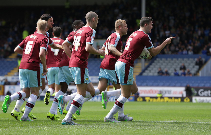 Burnley's Michael Keane (#5) celebrates scoring his sides equalising goal to make the score 1-1<br /> <br /> Photographer Stephen White/CameraSport<br /> <br /> Football - The Football League Sky Bet Championship - Burnley v Birmingham City - Saturday 15th August 2015 - Turf Moor - Burnley<br /> <br /> &copy; CameraSport - 43 Linden Ave. Countesthorpe. Leicester. England. LE8 5PG - Tel: +44 (0) 116 277 4147 - admin@camerasport.com - www.camerasport.com