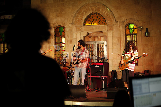 Strawberry Syrian band participate in eighteen Jerusalem festival in the West Bank of Jerusalem City on June 30, 2013. Photo by Saeed Qaq