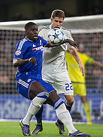 Kurt Zouma of Chelsea holds off Artem Kravets of Dynamo Kiev (Dynamo Kyiv) during the UEFA Champions League Group G match between Chelsea and Dynamo Kyiv at Stamford Bridge, London, England on 4 November 2015. Photo by Andy Rowland.